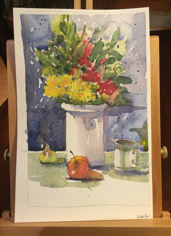 Watercolor flowers in a vase