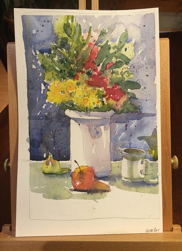 Watercolor flowers in a vase
