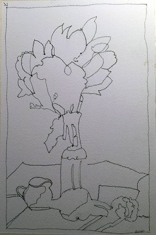 Contour drawing in pencil of flowers