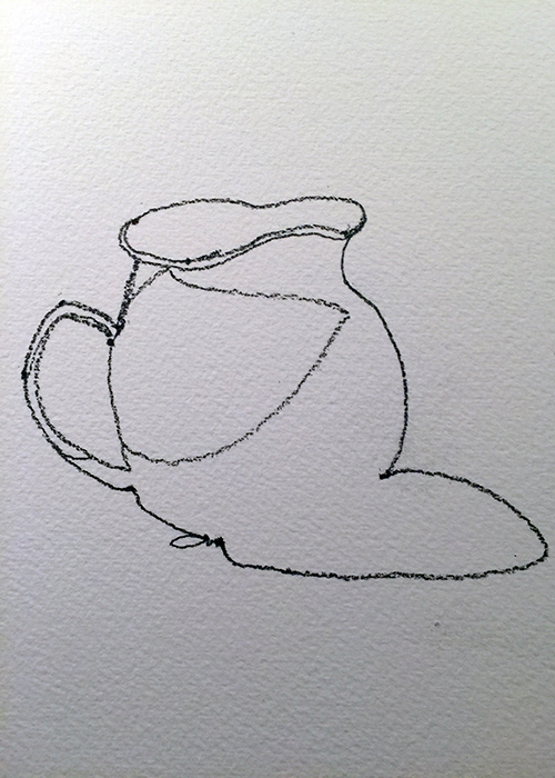 Vase contour drawing in pencil