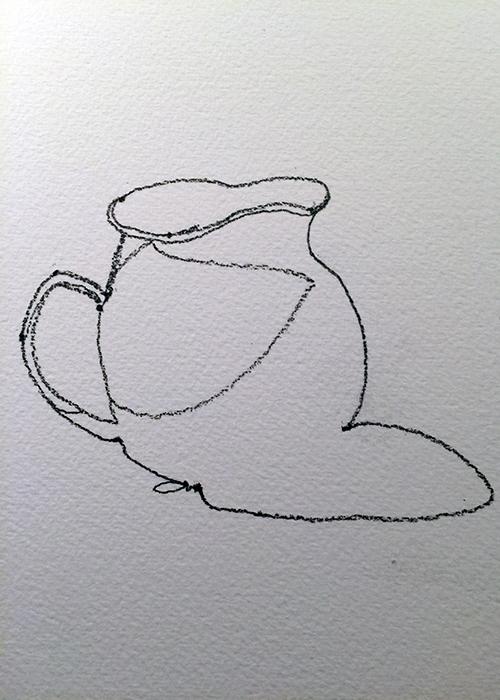 Vase contour drawing in pencil